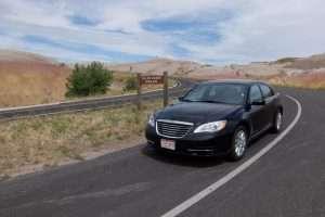 Badlands con auto noleggiata