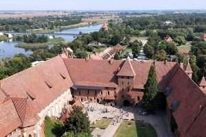 Vista dall'alto del castello di Malbork in Polonia